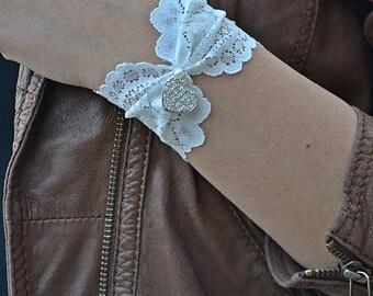 Cuff Bracelets,  Lace Wristbands, Ivory  Wristband, Lace Bracelets, Heart  Lace  Bracelet,  Bracelets, Womens Bracelets, Stone Bracelet