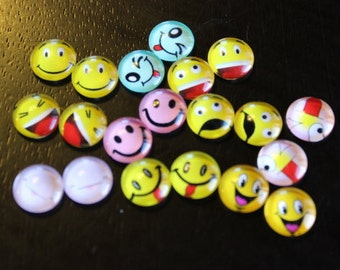 20 glass round emoji cabochons, mixed styles 20 beads with 10 pairs, flat back, perfect for post earrings, 10 x 3 mm