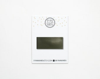 Olive leather snap clip