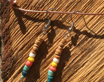 Dangle Wood & Color Earrings