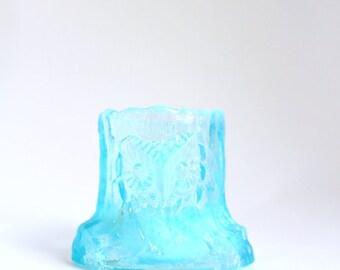 Toothpick Holder, Blue Toothpick Holder, Owl Toothpick Holder, Tree Stump Toothpick Holder, Blue Glass Toothpick Holder Opalescent Toothpick