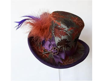 Autumn leaf Mini top-hat, with feathers