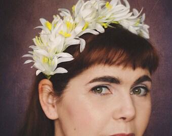 Bridal headband white-yellow flowers floral tiara