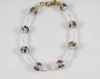 White, Green And Pink Floral Cloisonne And Glass Beaded Bangle Bracelet