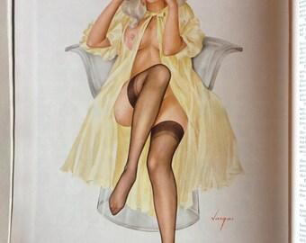 Original Alberto Vargas Playboy Pinup Print. October 1968. Erotic Art. Pin Up Girl Art. Retro Vargas Prints. Vintage Playboy Magazines.