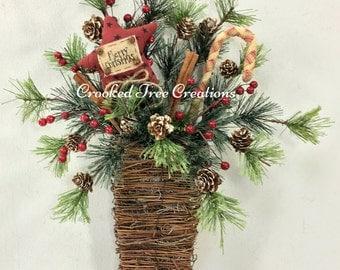 Winter Wall Basket, Candy Cane Basket, Christmas Basket, Candy Cane Wreath, Holiday Wreath, Christmas Door Decor, Prim Wall Basket, Star