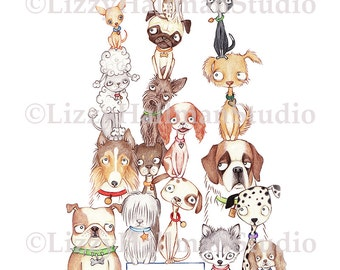 The Dog Show - Greeting Card from original colored pencil illustration