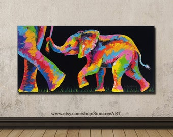60 x 120 cm, Elephant Painting wall decor art canvas