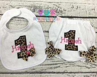 1st birthday cheetah print cake smash set - First birthday bib and bloomers - 1st birthday diaper cover - cake smash outfit girl