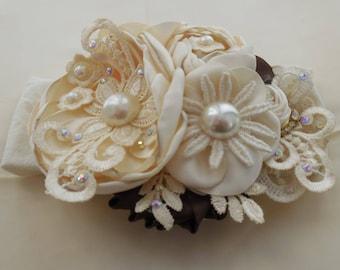 ivory -brown headband,lace ivory headband,girl headband,elegant ivory headband.