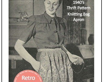 1940's Thrifty Storage Bag Apron Pattern  - PDF Apron Sewing Pattern - PDF Instant Download