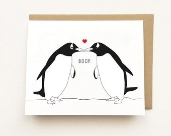 Penguin Card, Penguin I love you card, Cute Anniversary Card, Penguin Lover card, Cute Valentines Day Card, Cute Animal Card, Boop card