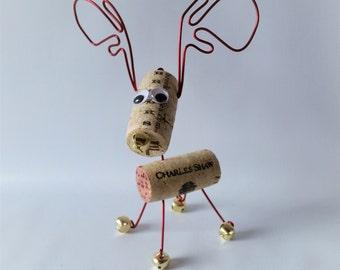 Wine Cork Reindeer Ornament, Cork Reindeer, Corky Friendz, Reindeer Ornament, Whimsical Cork Ornament, Reindeer with Bells, Made in Portland