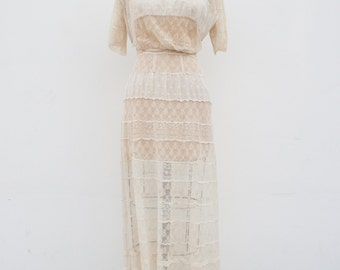 vintage 1910s edwardian cream lace lawn dress | XS/S