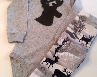 Baby Boy Deer Outfit, Deer Outfit, Elk, Baby Boy Pant Set, Baby Boy Take Home Outfit, Baby Boy Hunting Outfit, Little Hunter, Daddys Boy