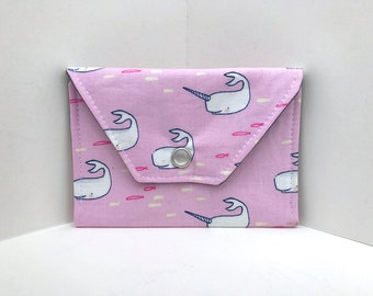 Birth Control Case / Pill Cozy - Birth Control Pill Pack / ID Wallet - Whale and narwhale print