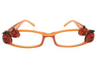 Women's Orange 1.75 Strength Halloween Reading Glasses with Hand-Applied Pumpkins