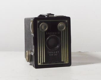 Vintage Black Camera Brownie Target Six - 20 Tech Gift Retro Steampunk Decor