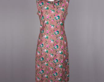 1960s brown floral vintage wiggle dress