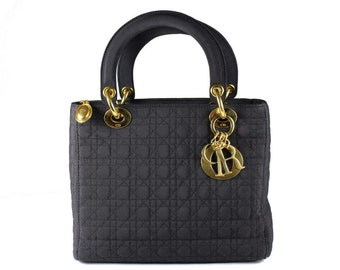 CHRISTIAN DIOR black cannage microfibre Lady Dior bag