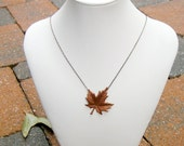 Reserved for Shannon - Copper Maple Leaf necklace