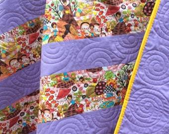 Baby girl toddler quilt, modern baby quilts, handmade baby quilts, lap quilt, nursery rhyme quilt, purple,