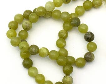 1 Olive jade stone beads strand / 7mm #PP048