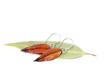 Leaf Earrings, Copper Leaf Earrings, Silver Leaf Earrings, Silver Earrings, Hammered Copper, Sterling Silver, Silver Jewelry, Gum Leaf