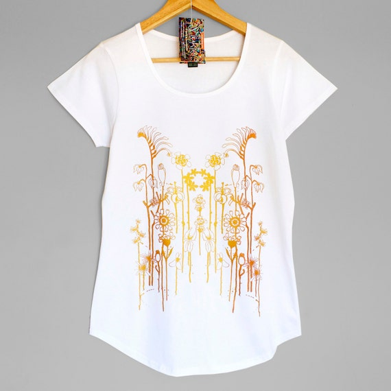 WILD FLOWERS . White womens t-shirt with iridescent gold copper print. Australian wildflowers. Womens top with flowers.