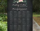 Wedding Seating Chart Printable Sign - Please Find Your Seat Chalkboard and Floral Seating Chart - Customizable Blush pink painted flowers