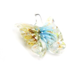 """Handmade Lampwork Butterfly Pendants in Blue and Gold 1.75""""x1.5"""" 1pc"""
