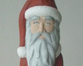 Old world Santa clause gifts for her Ceramic Santa Claus figurine Christmas Santa Mr. Clause, Christmas Decoration with Christmas wreath