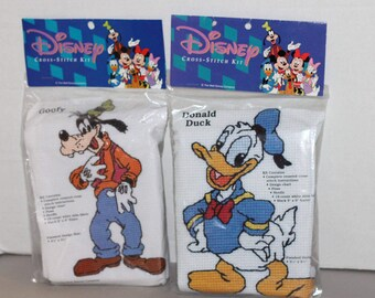 2 Disney Cross Stitch Kits Goofy and Donald Duck New
