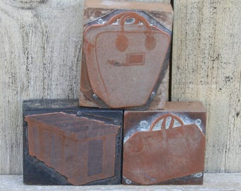 Collection Of Vintage Wood And  Copper Bag Print Blocks, Letterpress Blocks, Bag Print Blocks, Three Letterpress Blocks