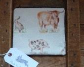 Handmade Makeup Bag Highland Cow Rabbit Hare Pheasant Pig Padded Lined Animal Bag