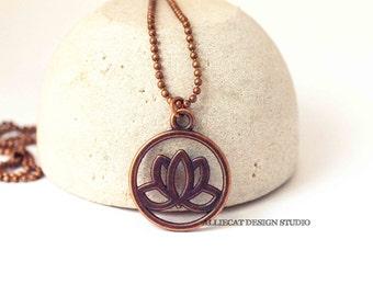 Boho Lotus Necklace | Bohemian Necklace | Boho Copper Lotus Necklace | Copper Lotus Necklace | NEW