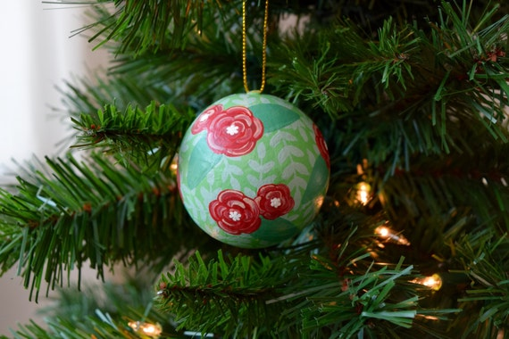 Round Floral Christmas Ornament, Hand-Painted / Bright Green and Bright Red / Christmas Ornament