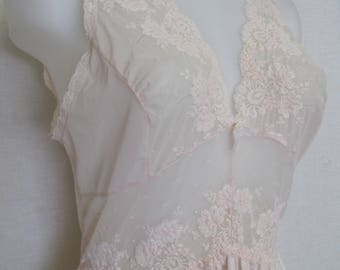 Olga Nightgown Pink Nightgown Long  Nightgown 1980's Nightgown Large Nightgown