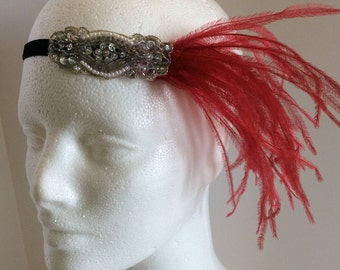 Red 1920s headband, red feather headpiece, ostrich feather fascinator, flapper dress headband, black feather dress great gatsby white
