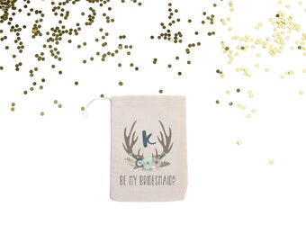 Rustic Antler Will You Be My Bridesmaid? Personalized Muslin Favor Bag