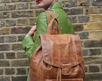 Cool Backpack Tan Scrunchy Leather