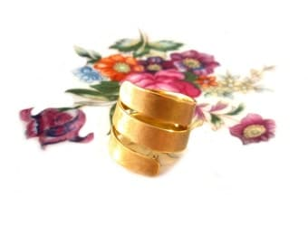 Wide gold plated ring size. 57, winding ring brass gold plated, US size 8.0, winding ring, spiral ring