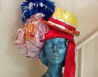 Vintage Feather Costume Hat / Headdress / Mardi Gras Hat / Festival Hat / Retro / Avant Garde / Collectible / Abstract / Kitsch