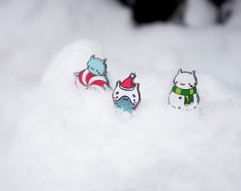 Set of Pins 3 / Christmas Enamel Lapel Cat Pin /