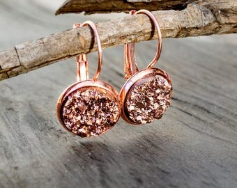 """Rose gold earrings - """"Sparkly stones"""""""