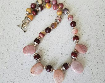 Mookaite Rhodonite Necklace Semiprecious Stone Necklace Handmade Moukaite Jewelry Statement Bib Necklace Gift For Her