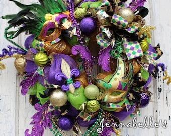 Mardi Gras Door Wreath - Mesh Wreath - Fleur de Lis Wreath - Purple Green Gold Mardi Gras Wreath