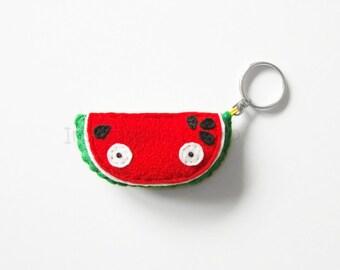 Watermelon felt keychain plush charm, pretend vegetable, funny keychain gift idea, vegan and vegetarian, felt hanging accessory, funny gift