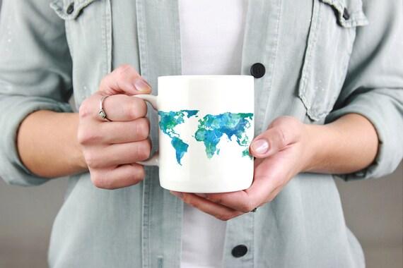 World map mug travel mug world map watercolor mug travel like this item sciox Image collections