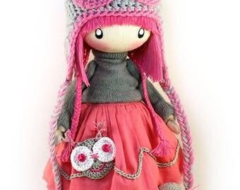Rag Doll Zooey Owl Pink MADE TO ORDER Handmade Doll Cute Doll Cloth Doll Fabric Doll Birthday Gift Gift Ideas For Child Owl Hat Tilda Doll